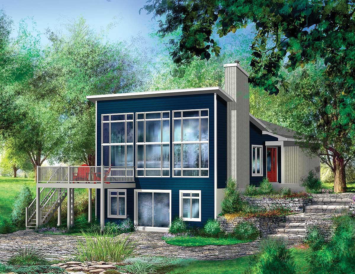 Contemporary retreat 80673pm architectural designs for Retreat home designs