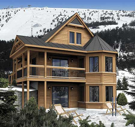 Vacation cabin with loft option 80679pm architectural for Vacation cabin plans