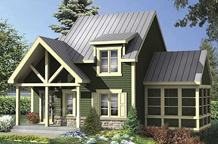 Mountain escape with sunroom 80686pm architectural for House plans with sunroom