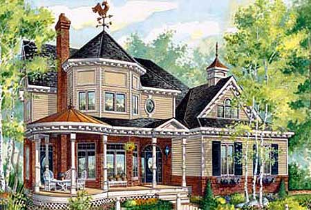 Victorian home with sun room 80693pm architectural for Victorian sunroom designs