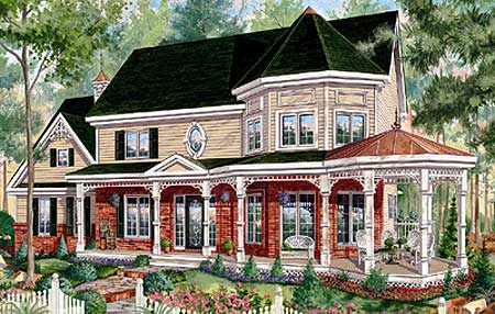 Victorian home plan with sunroom 80694pm architectural for Victorian sunroom designs