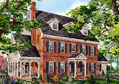 Architectural designs for Colonial house plans with porch