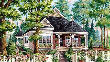 Compact victorian with wrap around porch 80704pm 1st for Original victorian house plans