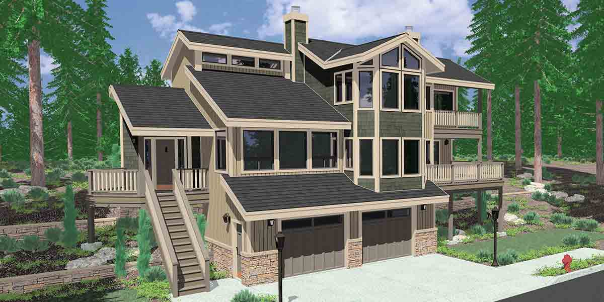 Unique contemporary plan 8074lb architectural designs for House plans with great room in front