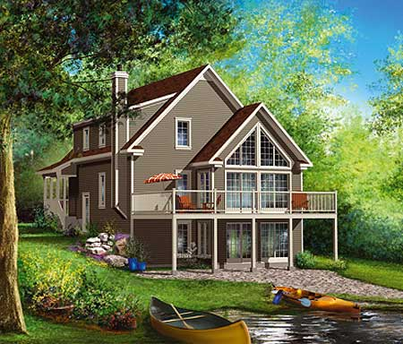 Sloping lot beauty 80745pm 2nd floor master suite cad for Vacation house plans sloped lot