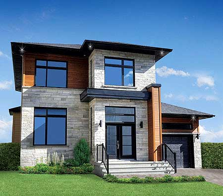 Narrow lot contemporary home 80761pm contemporary for Modern home plans canada