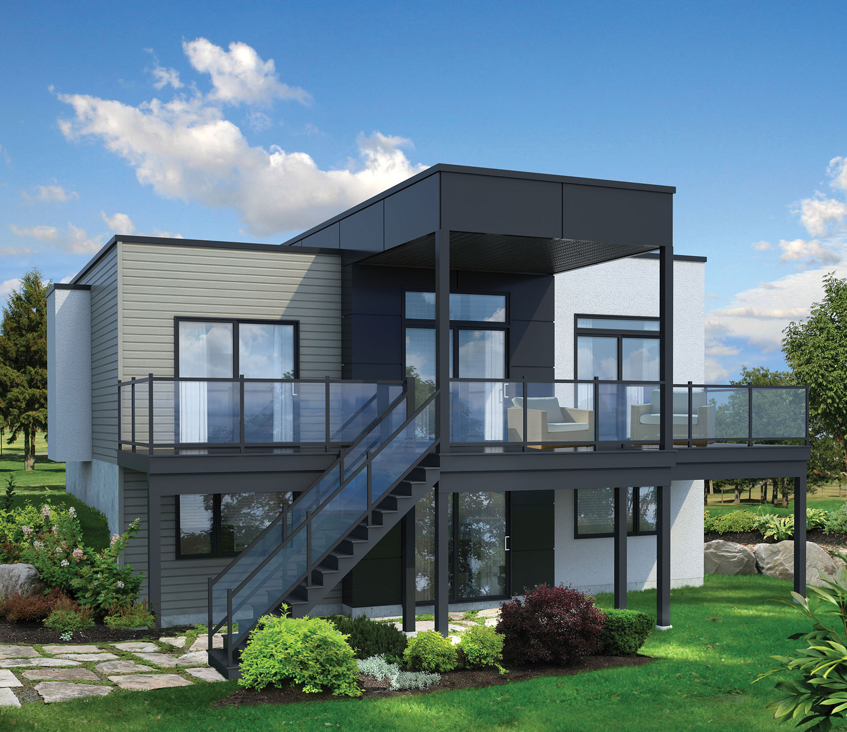 2 bed modern house plan for sloping lot 80780pm for Home designs on sloped land