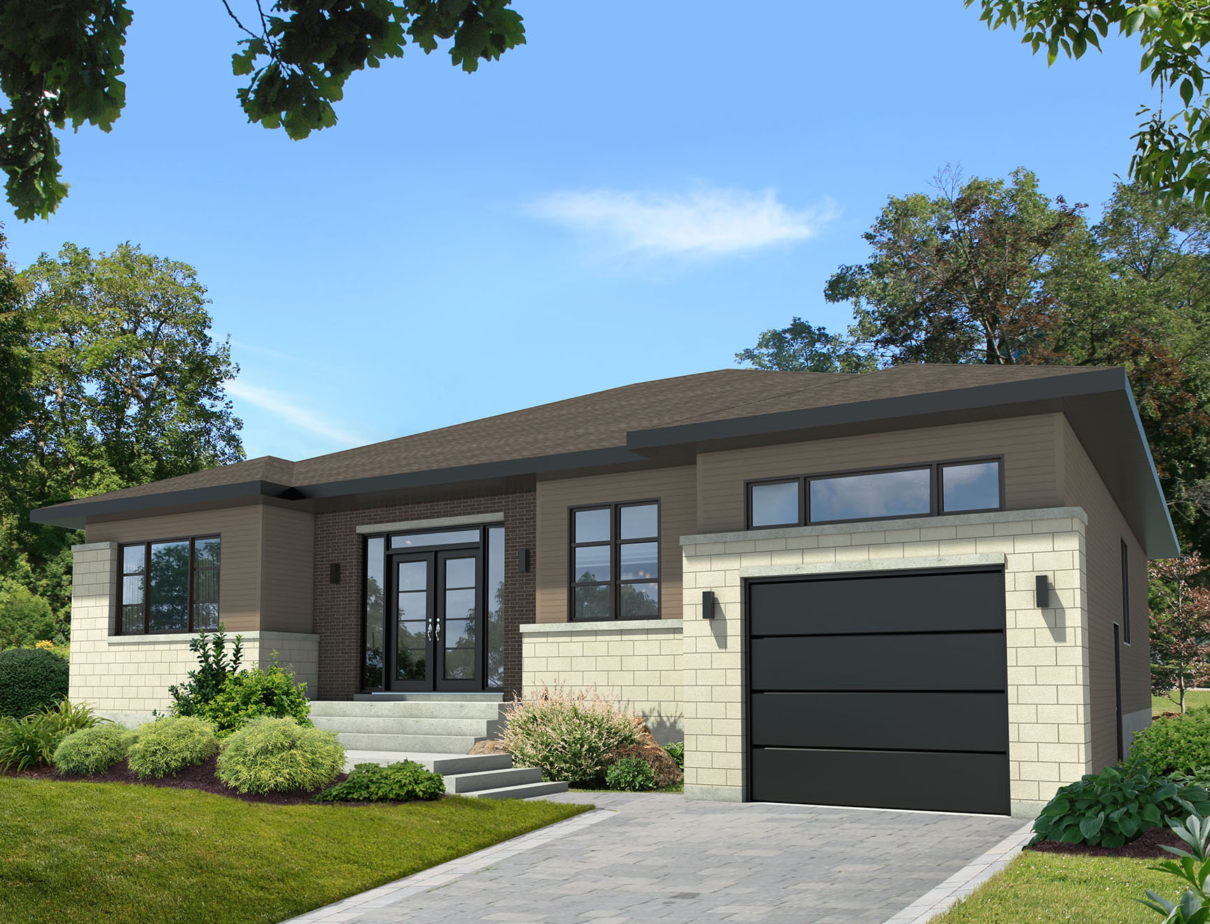 Contemporary ranch with an in law apartment 80783pm for Plans for homes with inlaw apartments