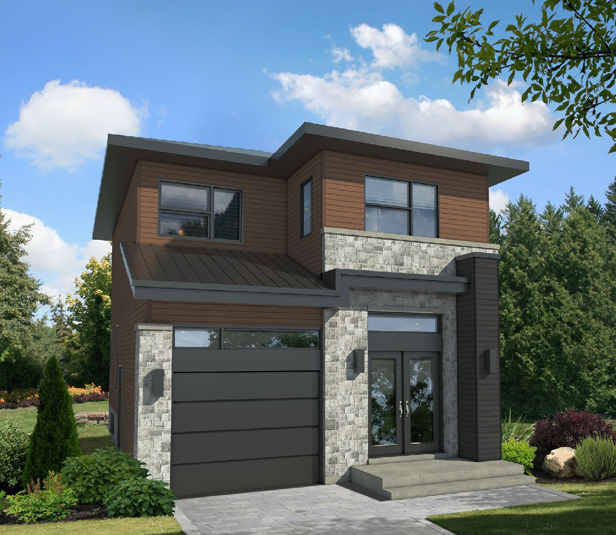 Compact Two-Story Contemporary House Plan