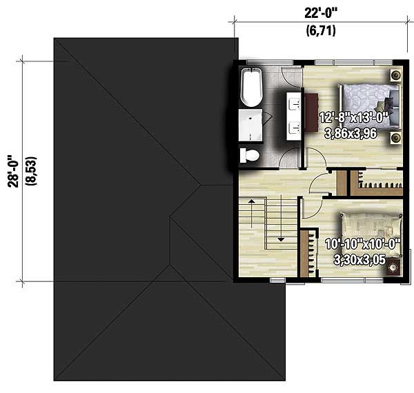 Split level contemporary house plan 80789pm 1st floor for Split master bedroom floor plans