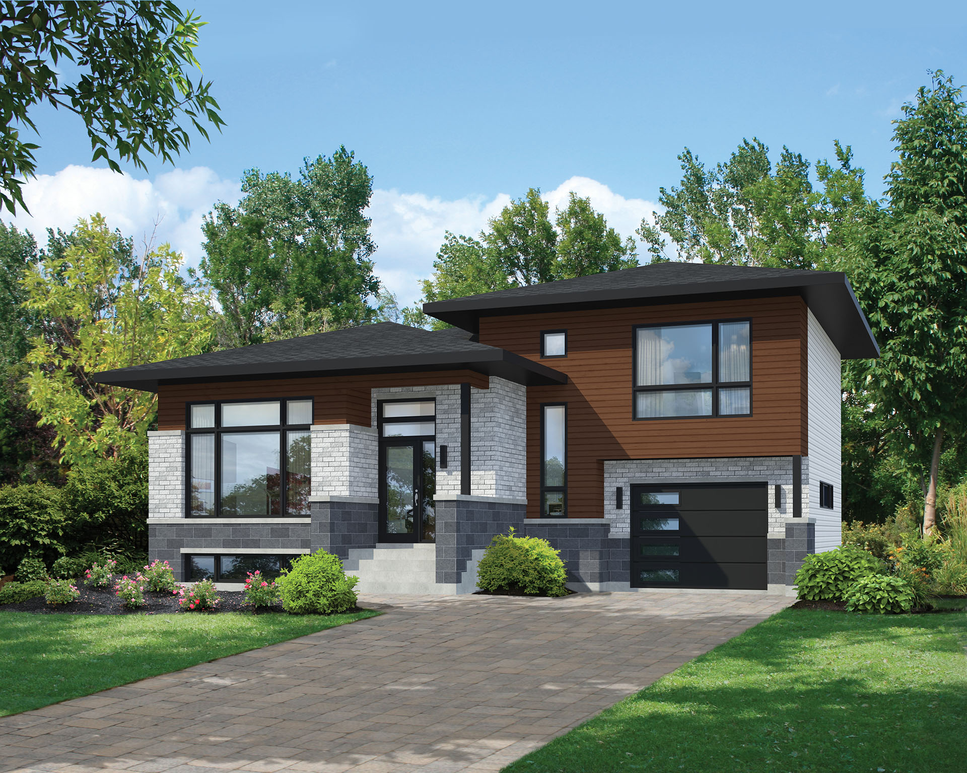 Split level contemporary house plan 80789pm 1st floor for Modern house plans with photos