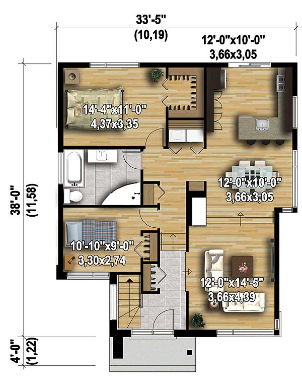 Two bedroom modern house plan 80792pm 1st floor master for Two master suites on first floor