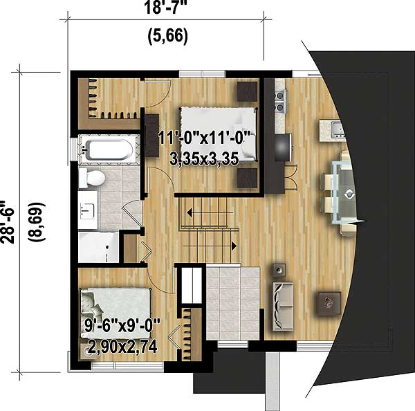 Multi level contemporary house plan 80797pm 2nd floor master suite cad available canadian for Multi level floor plans