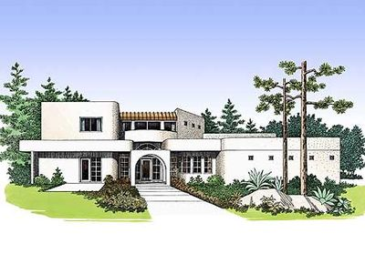 4 bed southwest contemporary home plan 0808w for Southwest contemporary homes