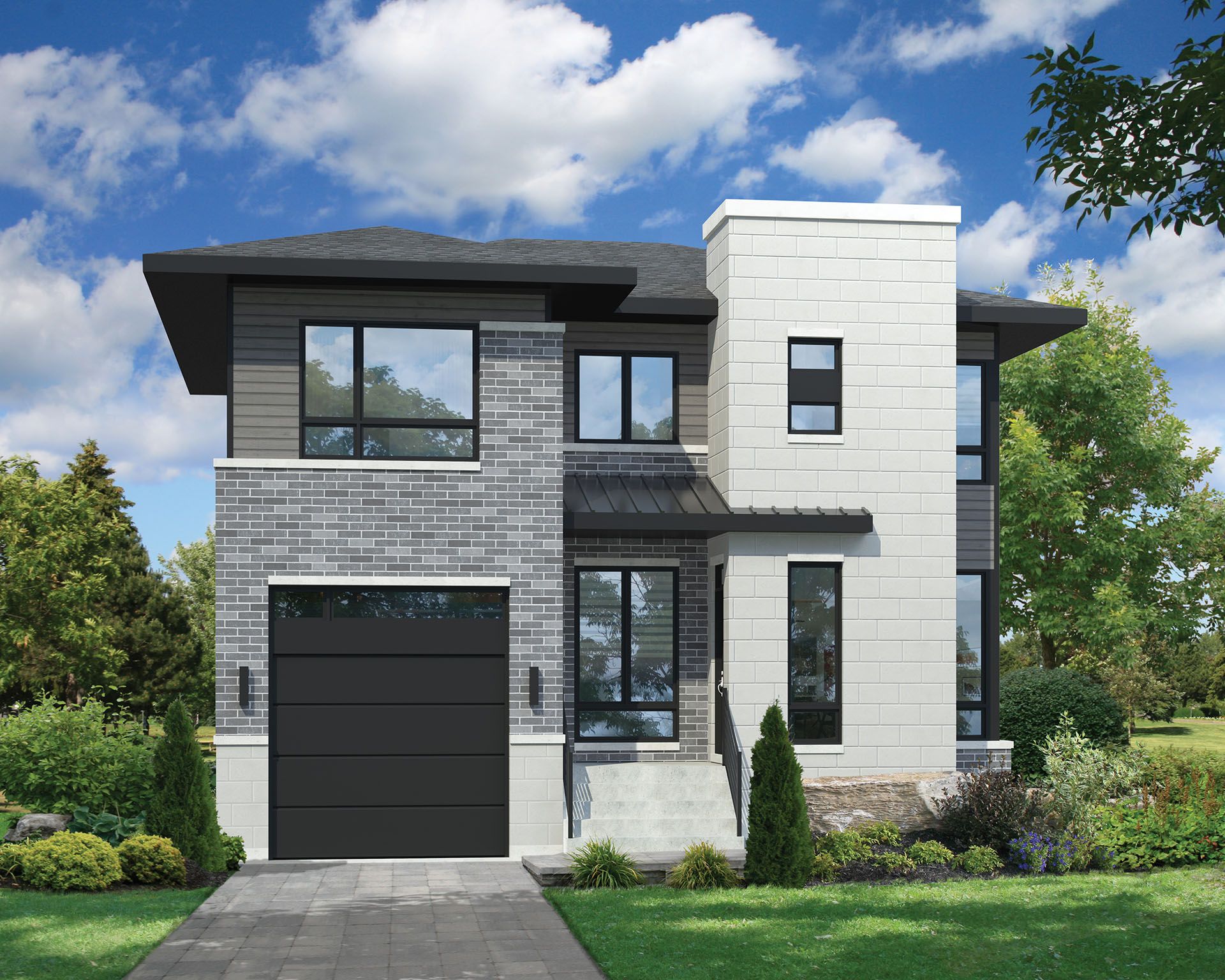 Two story contemporary house plan 80806pm 2nd floor master suite cad available canadian - Modern two story houses ...