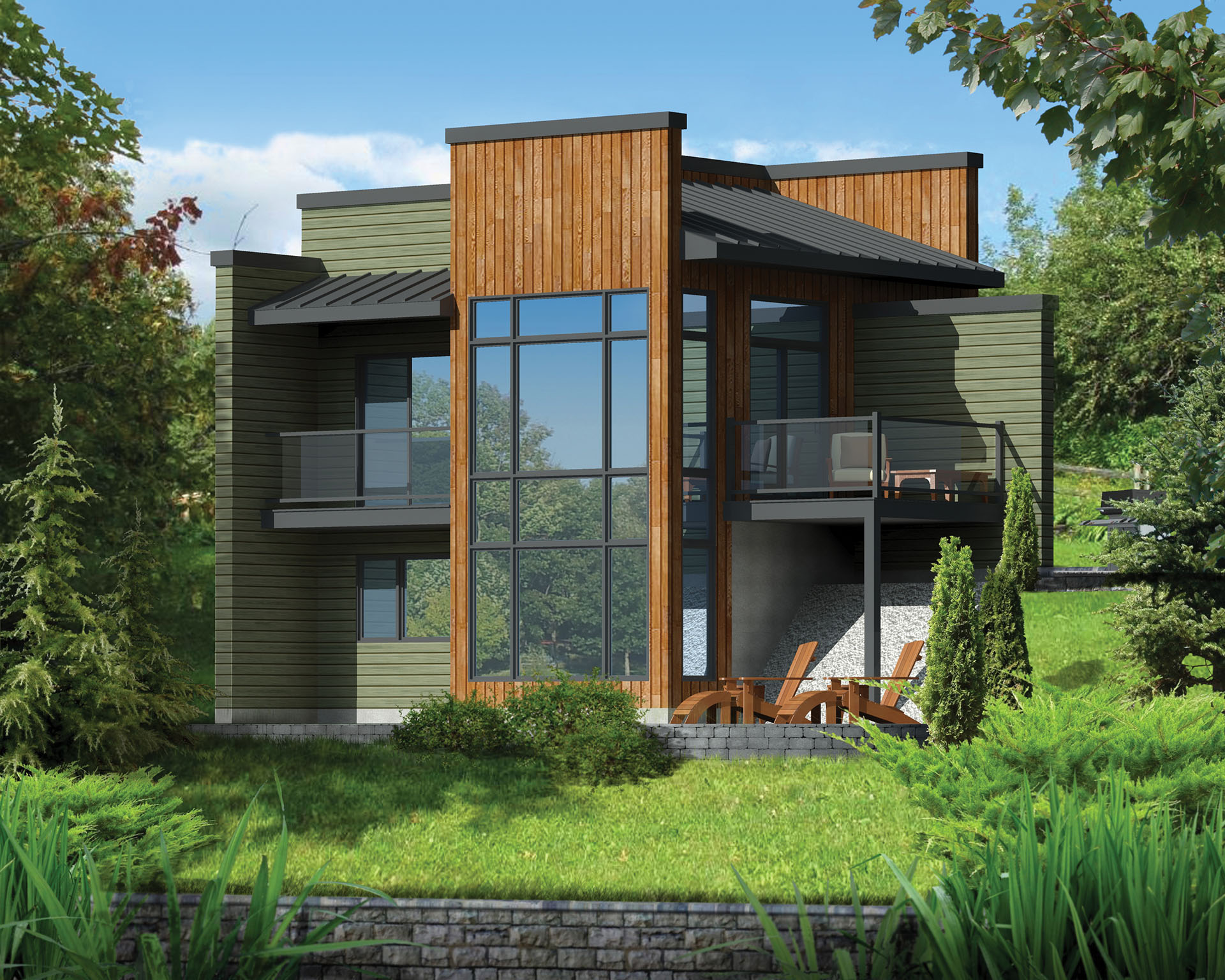 Modern getaway for a front sloping lot 80816pm for Modern home building plans