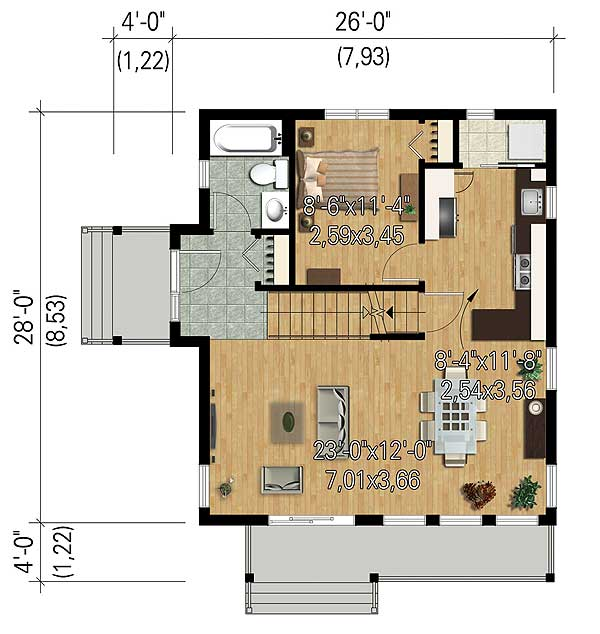 Compact vacation house plan 80818pm 2nd floor master for Vacation floor plans
