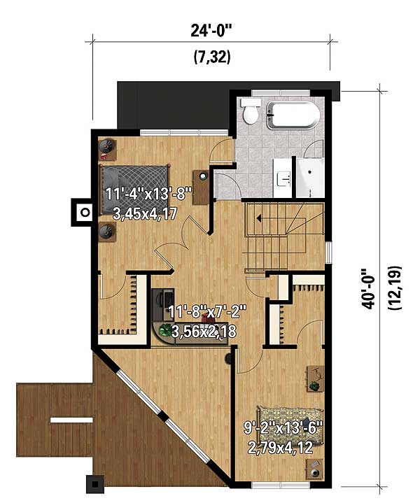Two Bedroom Contemporary House Plan - 80822PM | 2nd Floor ...