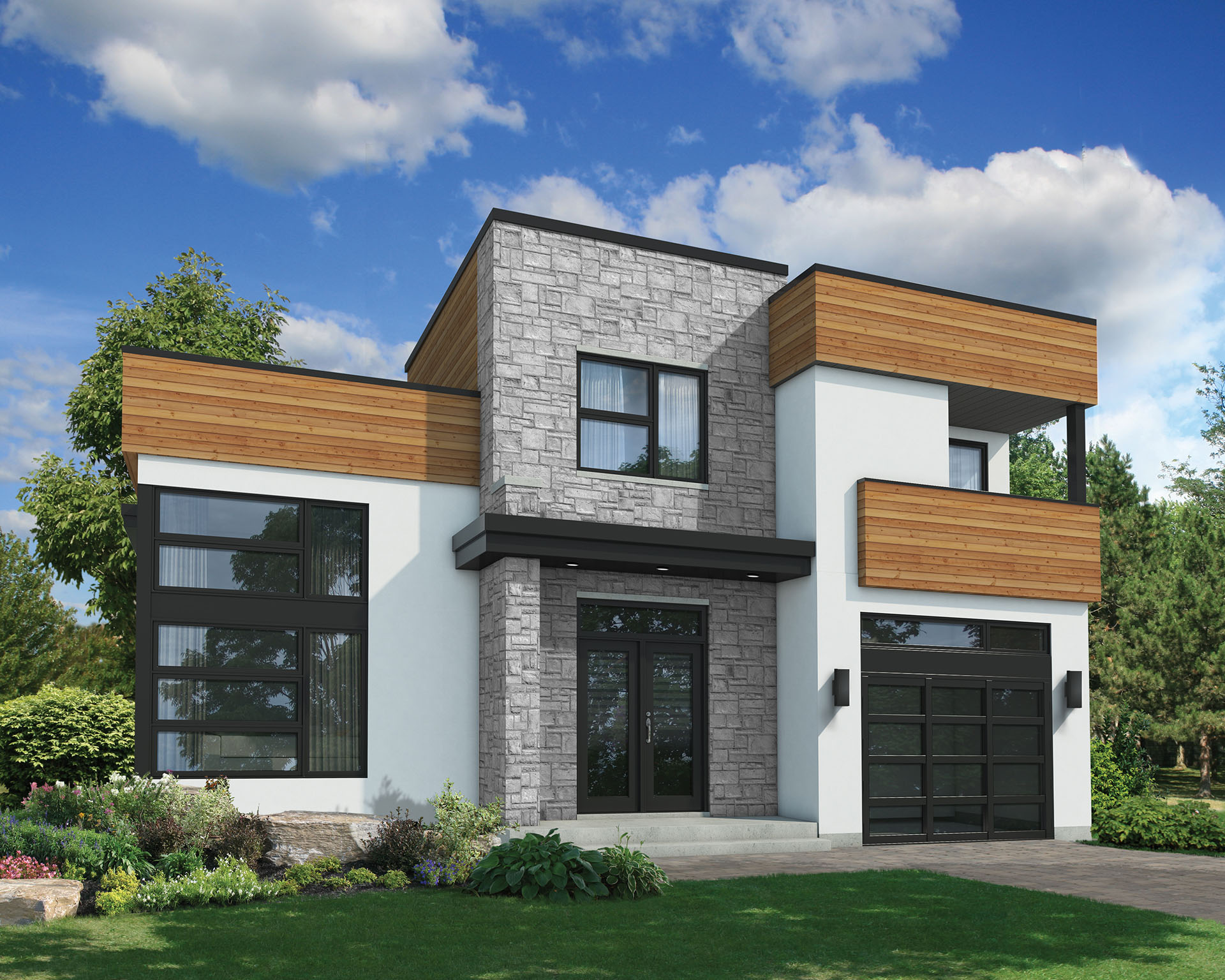 Contemporary with family room plus living room 80823pm for House plans with large family rooms