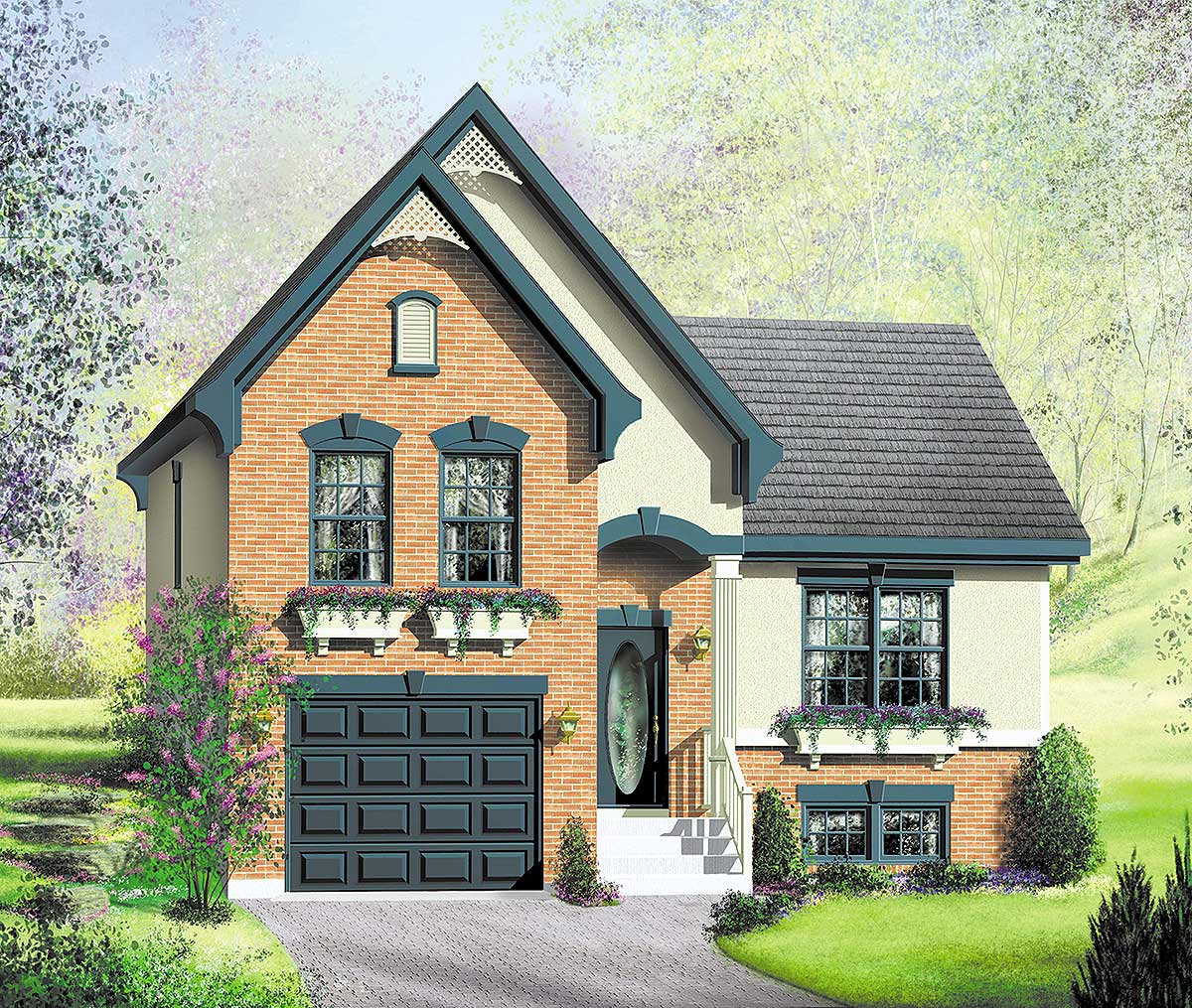 Charming Split Level House Plan - 80856PM