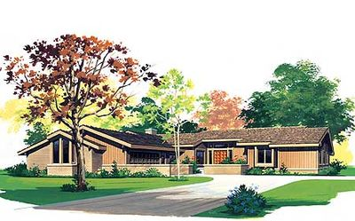 L-Shaped Ranch House Plan - 81100W thumb - 01