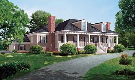Antebellum Greek Revival 81141W 1st Floor Master Suite Corner