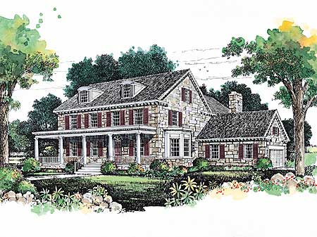Lovely stone farmhouse 81256w architectural designs - Stone house designs and floor plans ...
