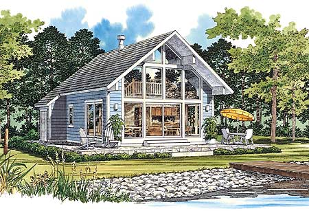Chalet Style Vacation Home Plan   W   st Floor Master Suite    Plan W