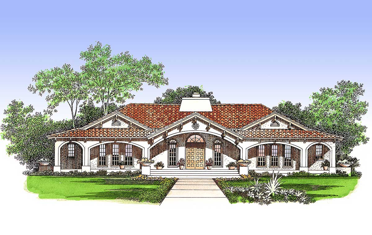 Central Courtyard Dream Home Plan 81383w 1st Floor