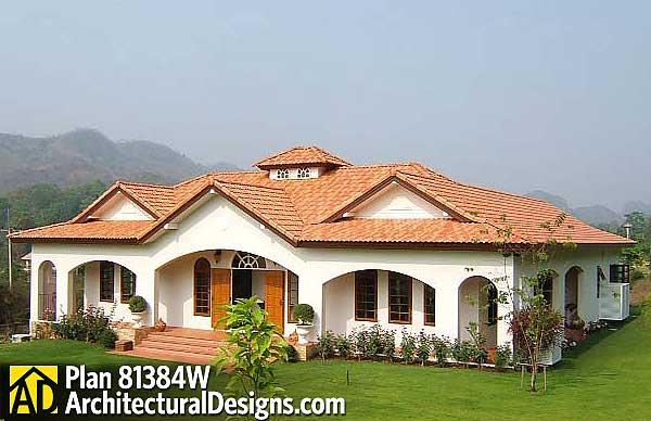 Open courtyard dream home plan 81384w 1st floor master for Architecturaldesigns com house plan 56364sm asp