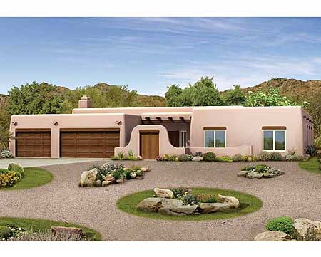 pueblo style ranch home plan 81387w 1st floor master