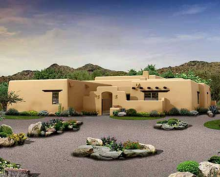 Great covered patio home plan 81394w 1st floor master for Southwest home designs