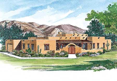 Creative sante fe style home plan 81408w 1st floor for Southwest house plans