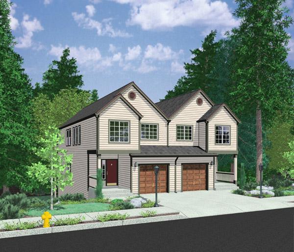 Open floor plan duplex 8157lb architectural designs for Modular fourplex