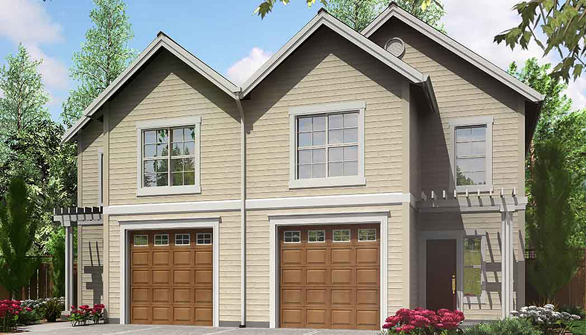Narrow lot duplex home plan 8158lb architectural for Narrow duplex plans