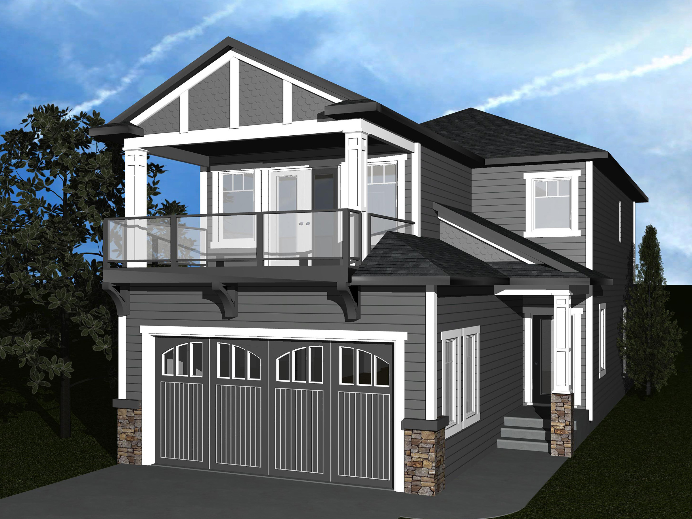 Narrow lot home plan with upper balcony 81615ab 2nd for House plans with balcony