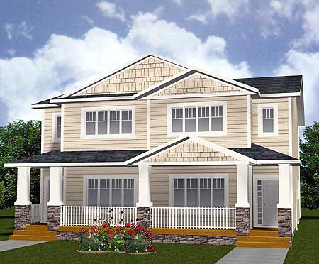 Multi family home with shingles and siding 81620ab 2nd for Multi family home plans and designs