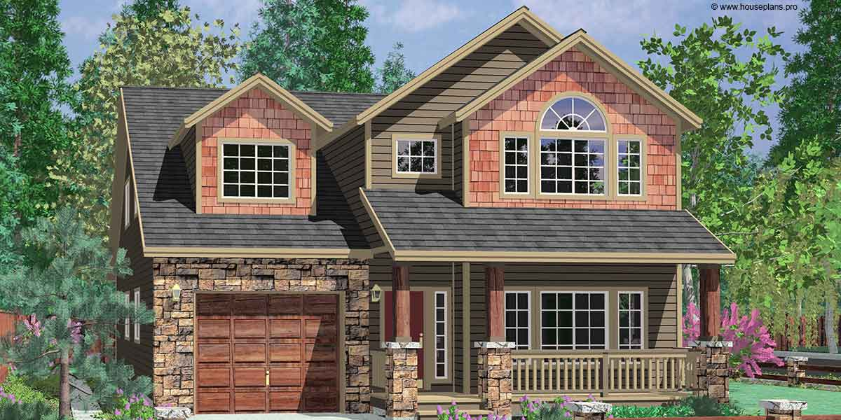 Vaulted master tandem garage 8176lb 2nd floor master for Two car garage plans with bonus room