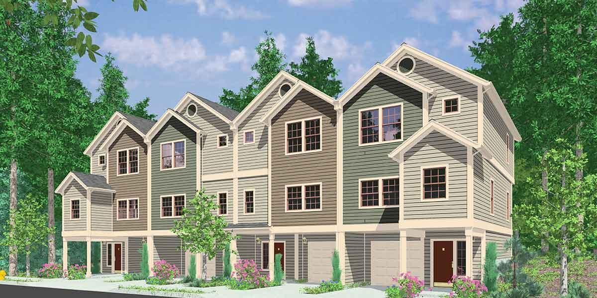 Four plex great for combining 8184lb architectural for 4 plex townhouse plans