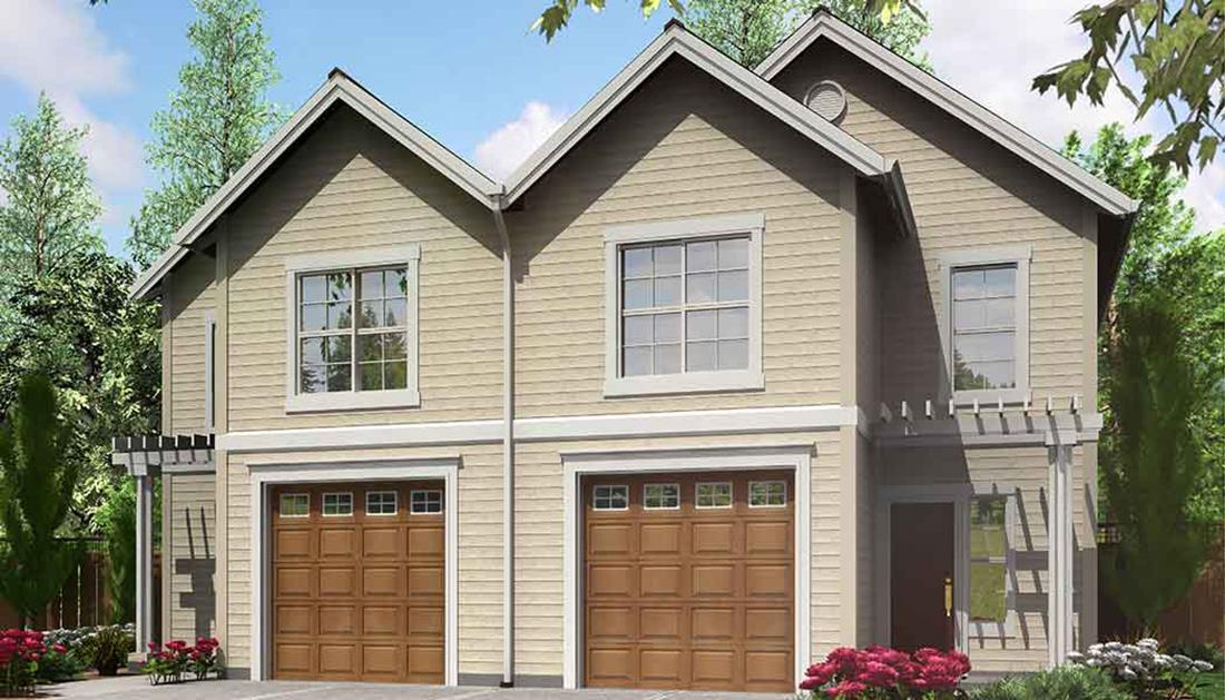 Narrow lot duplex house plan 8185lb 2nd floor master for Duplex plans with garage