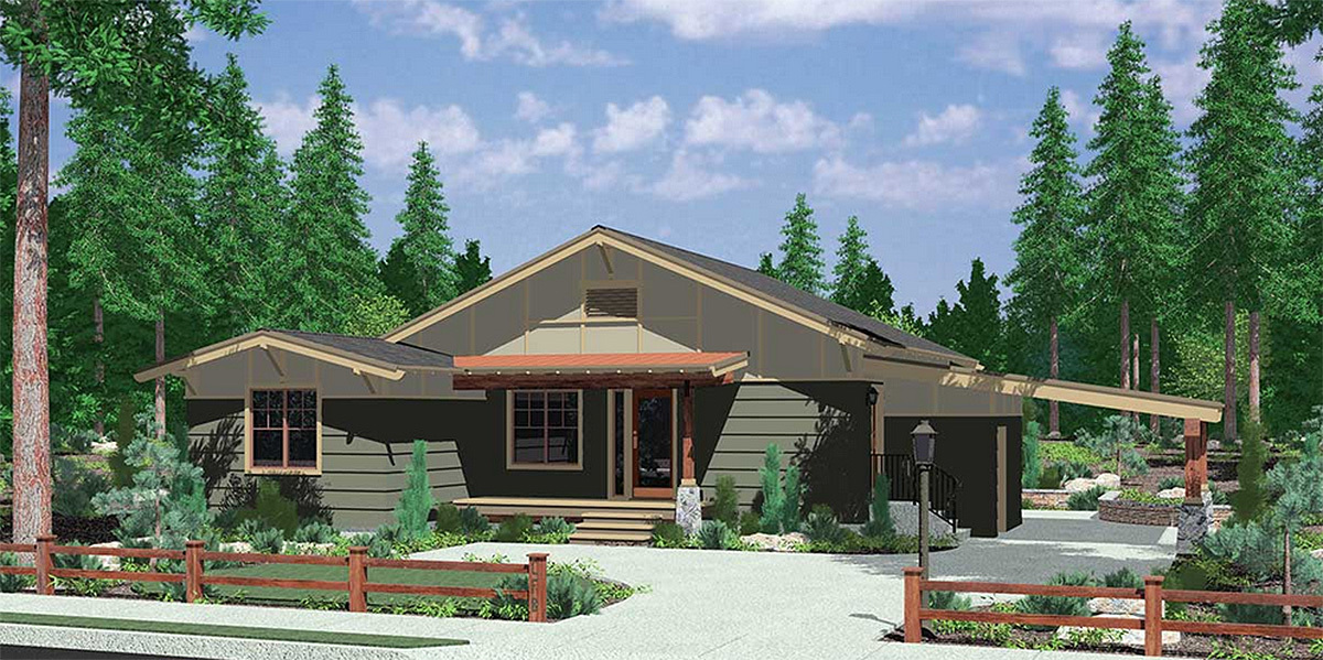 One Level House Plan With Open Living Area 8187lb