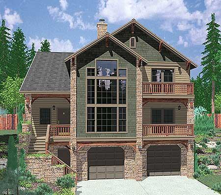 Hillside retreat 8189lb 2nd floor master suite cad for Hillside house plans with garage underneath
