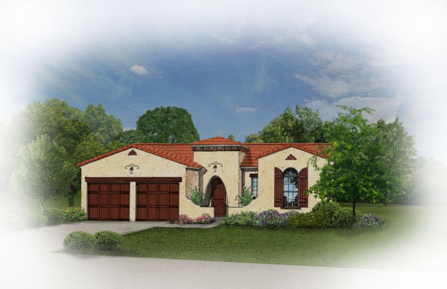 Mediterranean home with front courtyard 82018ka for Courtyard in front of house