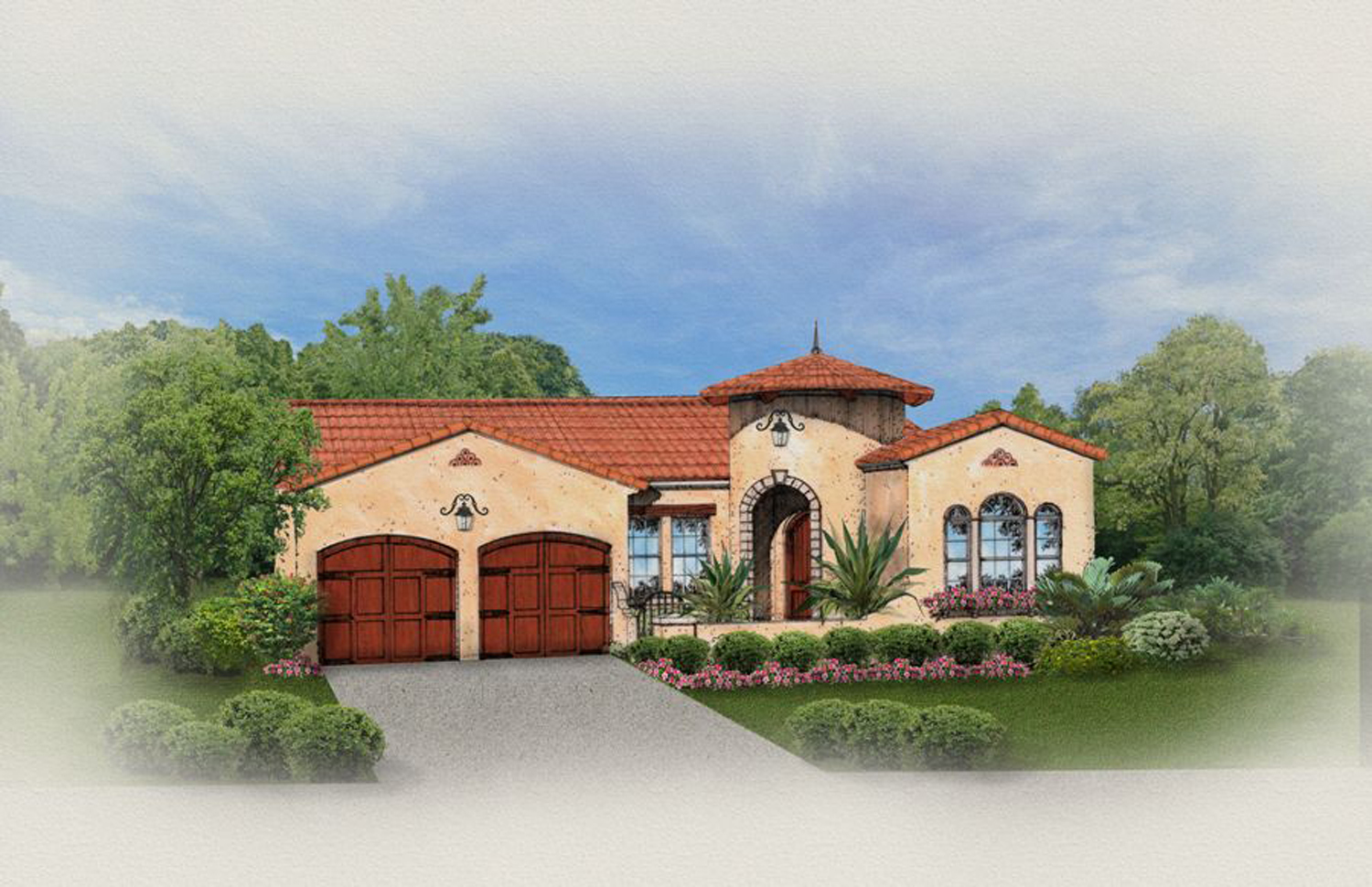 Mediterranean home with front courtyard 82019ka for Mediterranean home plans with courtyards