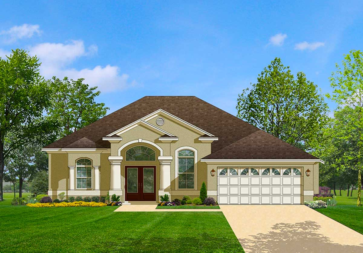 Ideal open floor plan 82026ka 1st floor master suite Florida style home plans