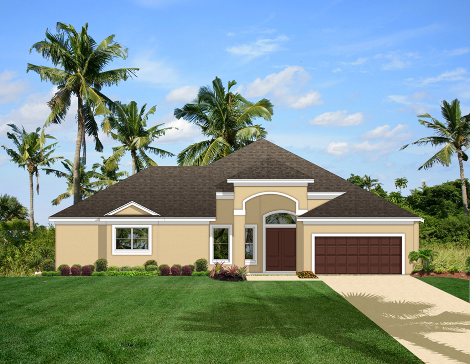 Home plan with courtyard and guest cabana 82034ka 1st for Florida house plans