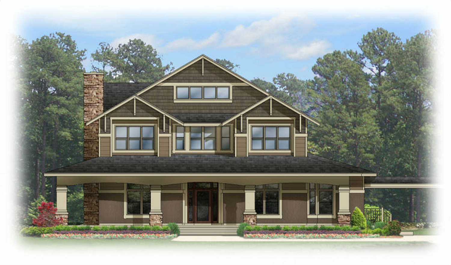 Craftsman house plan with wrap around porch 82070ka for Craftsman wrap around porch