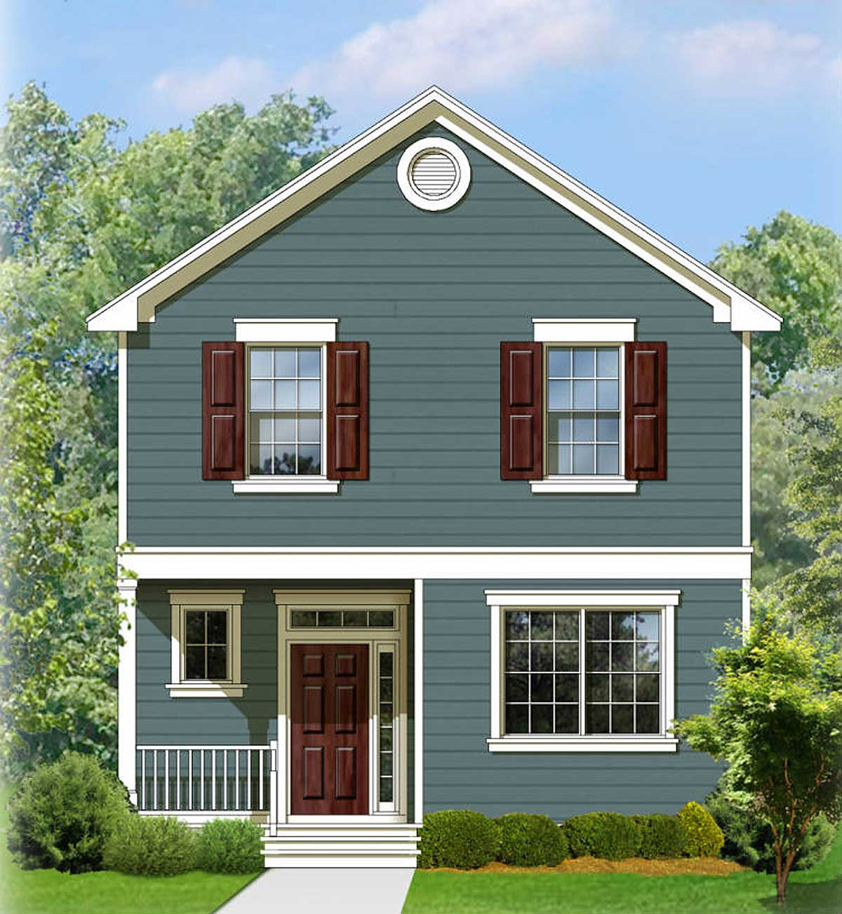 Two Story Traditional House Plan 82083ka 2nd Floor Master Suite Cad Available Narrow Lot