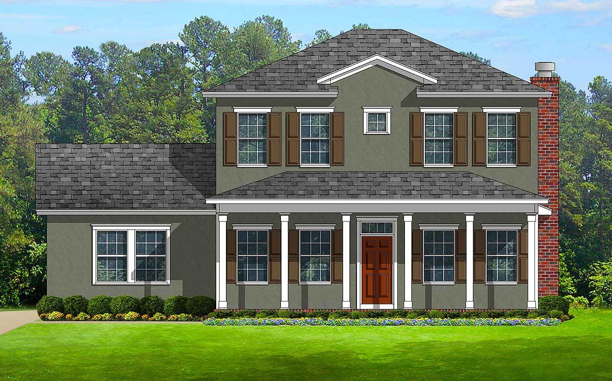 Colonial with front and back porches 82099ka for House plans with porches on front and back