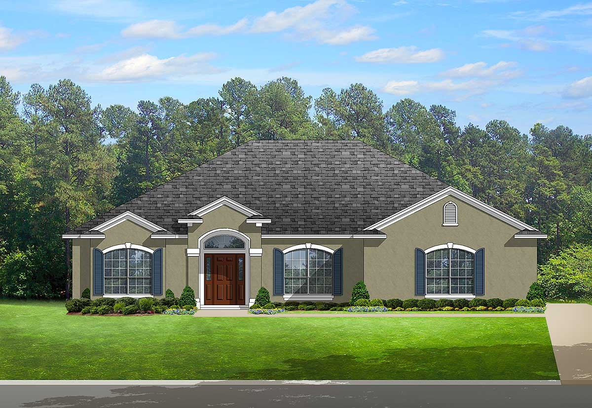 European house plan with arched windows 82113ka for House plans with windows